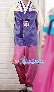 Traditional Korean Costumes Bridegroom Formal Attire Ceremonial Purple Cloth, Asian Korea Hanbok Embroidered Clothing for Men