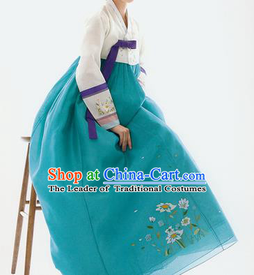 Traditional Korean Costumes Palace Lady Formal Attire Ceremonial White Blouse and Green Dress, Asian Korea Hanbok Bride Embroidered Clothing for Women