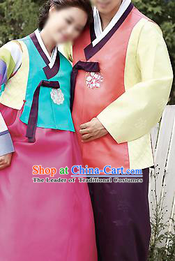 Traditional Korean Costumes Palace Lady Formal Attire Ceremonial Blue Blouse and Pink Dress, Asian Korea Hanbok Bride Embroidered Clothing for Women