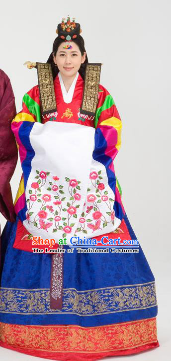 Traditional Korean Costumes Palace Lady Formal Attire Ceremonial Wedding Dress, Asian Korea Hanbok Bride Embroidered Clothing for Women