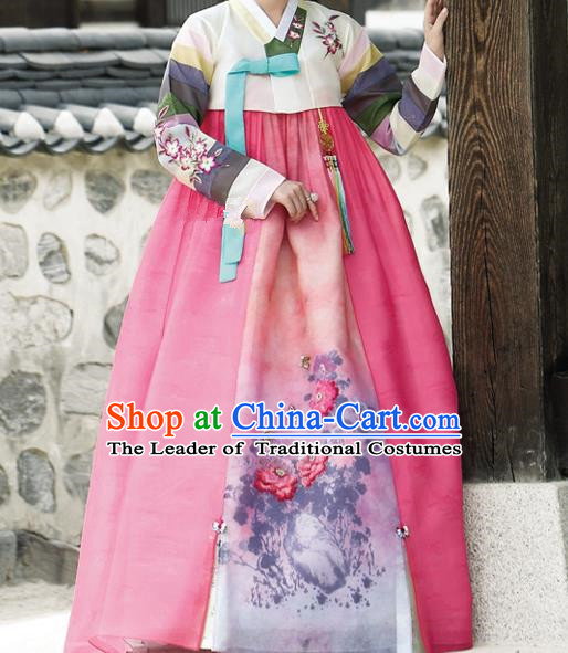 Traditional Korean Costumes Palace Lady Formal Attire Ceremonial Wedding Pink Dress, Asian Korea Hanbok Court Bride Clothing for Women