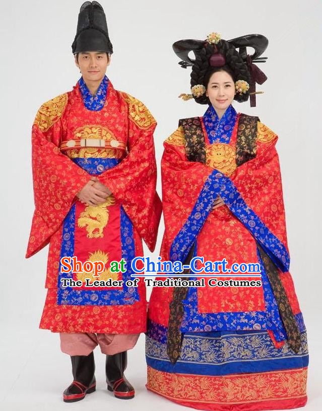 Traditional Korean Costumes Emperor and Empress Formal Attire Ceremonial Wedding Red Clothing, Asian Korea Hanbok Embroidered Clothing for Women for Men