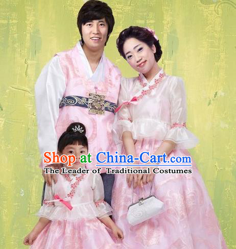 Traditional Korean Costumes Parent-Child Outfit Full Dress Family Formal Attire Ceremonial Clothes, Korea Court Embroidered Clothing Complete Set