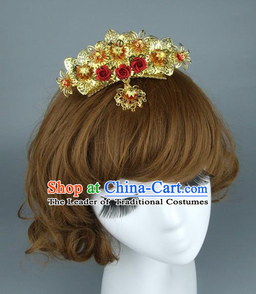 Top Grade Handmade Chinese Wedding Hair Accessories Xiuhe Suit Hair Clasp, Baroque Style Bride Hair Comb Headwear for Women