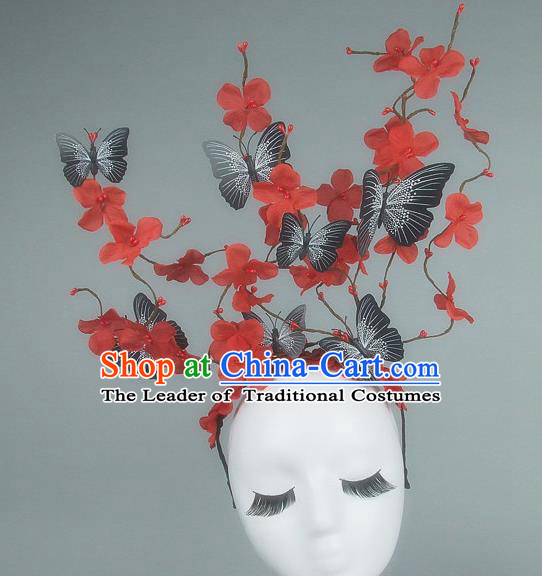 Asian China Butterfly Red Flowers Hair Accessories Model Show Headdress, Halloween Ceremonial Occasions Miami Deluxe Headwear
