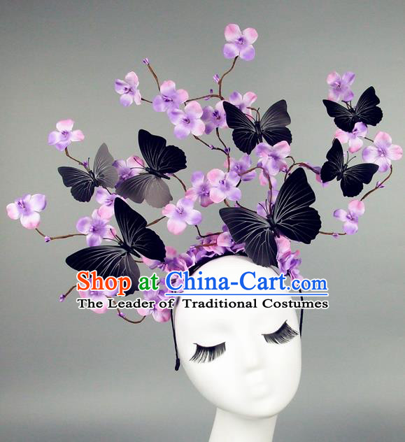 Asian China Butterfly Purple Flowers Hair Accessories Model Show Headdress, Halloween Ceremonial Occasions Miami Deluxe Headwear