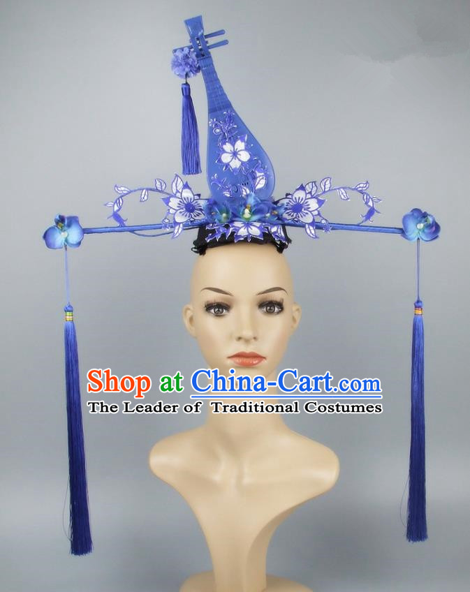 Asian China Theatrical Ornamental Lute Hair Accessories Model Show Headdress, Traditional Chinese Manchu Lady Headwear for Women