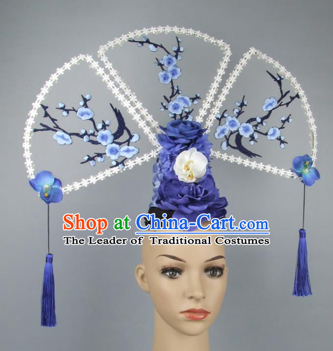 Asian China Theatrical Ornamental Embroidery Hair Accessories Model Show Headdress, Traditional Chinese Manchu Lady Headwear for Women