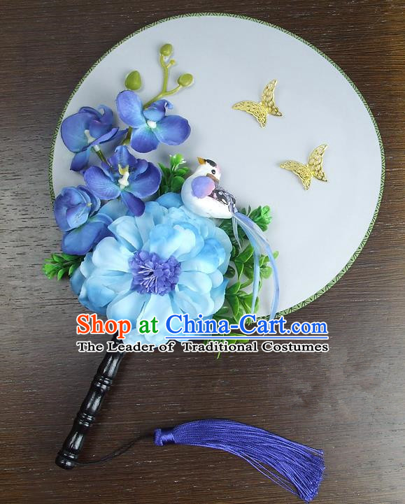 Traditional Handmade Chinese Ancient Wedding Round Fans, Hanfu Palace Lady Blue Peony Flowers Bride Mandarin Fans for Women