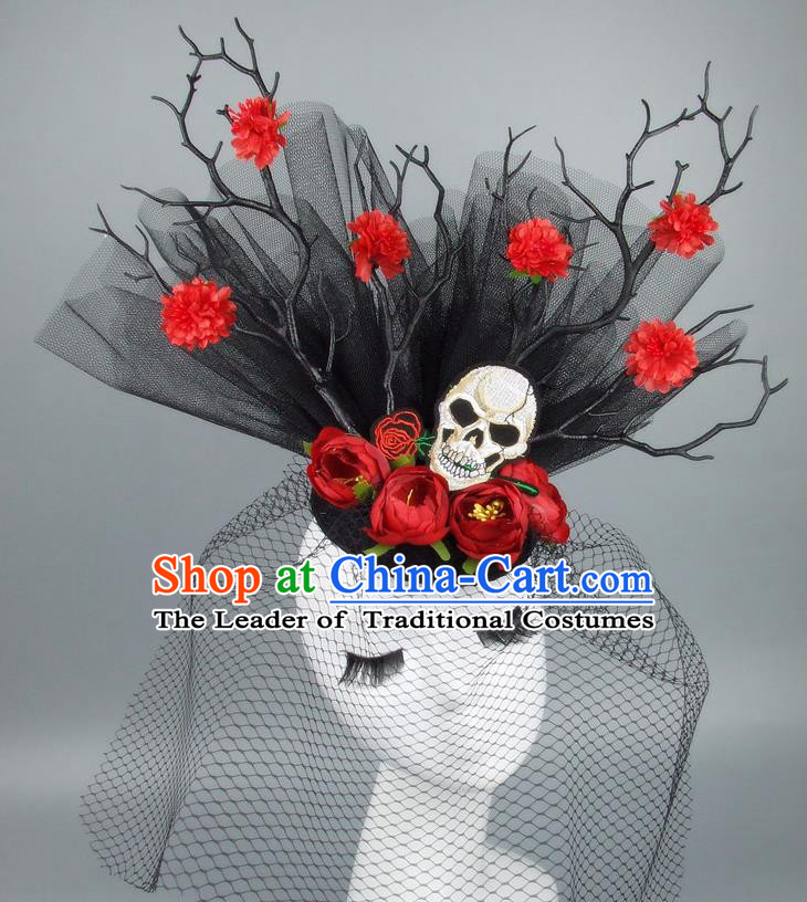 Asian China Black Veil Hair Accessories Model Show Embroidery Headdress, Halloween Ceremonial Occasions Miami Deluxe Headwear