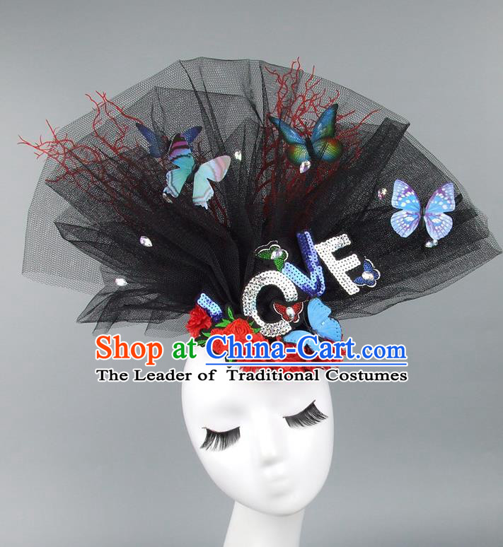 Asian China Exaggerate Veil Hair Accessories Model Show Butterfly Headdress, Halloween Ceremonial Occasions Miami Deluxe Headwear