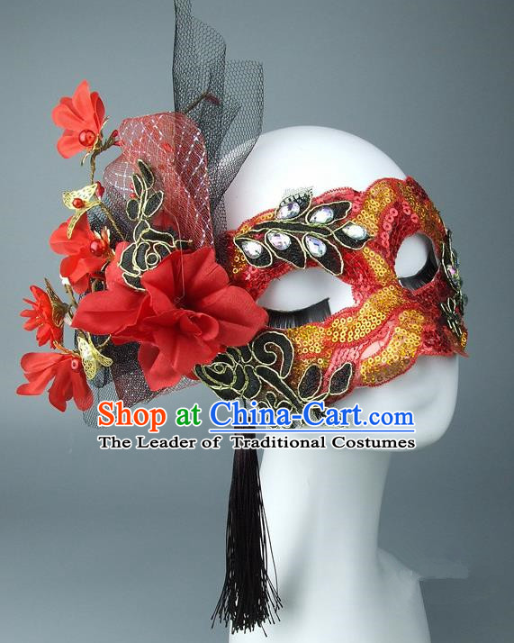 Asian China Exaggerate Fancy Ball Accessories Model Show Red Lace Mask, Halloween Ceremonial Occasions Miami Deluxe Face Mask