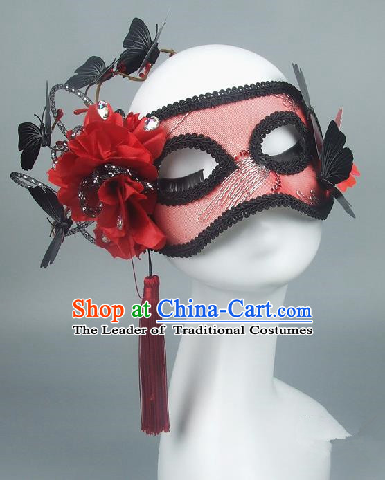 Asian China Exaggerate Fancy Ball Accessories Model Show Red Flower Mask, Halloween Ceremonial Occasions Miami Deluxe Face Mask