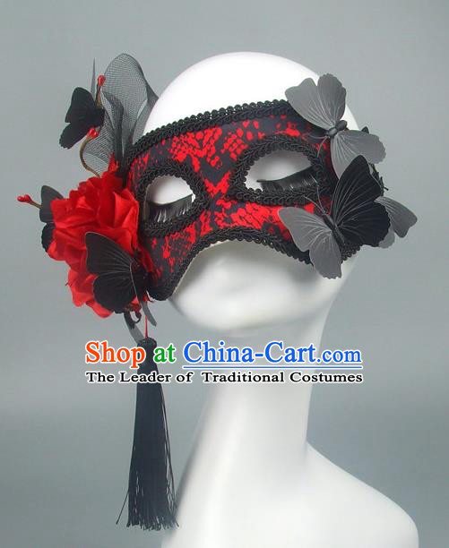 Asian China Exaggerate Fancy Ball Accessories Model Show Black Lace Mask, Halloween Ceremonial Occasions Miami Deluxe Face Mask