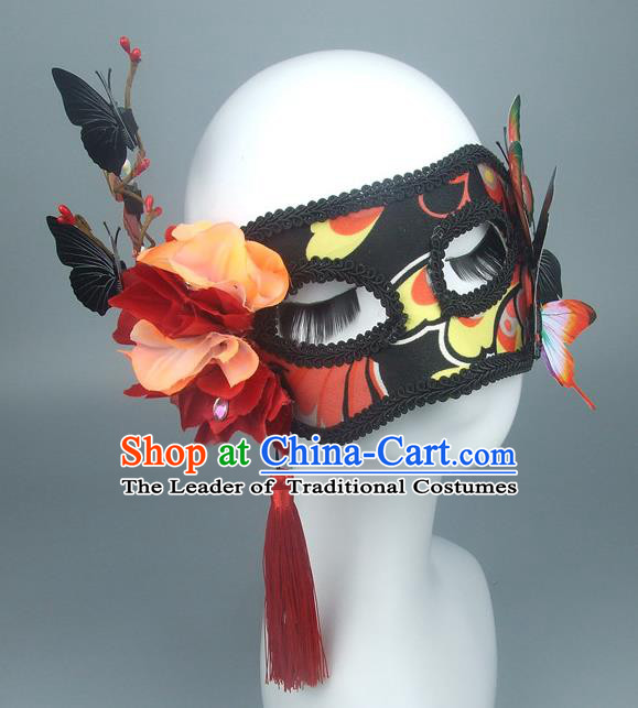 Asian China Exaggerate Fancy Ball Accessories Model Show Butterfly Mask, Halloween Ceremonial Occasions Miami Deluxe Face Mask