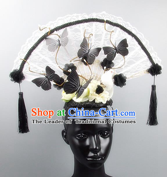Traditional Handmade Chinese Ancient Hair Accessories, Qin Dynasty Queen Hat White Lace Headwear Hair Fascinators Tuinga for Women