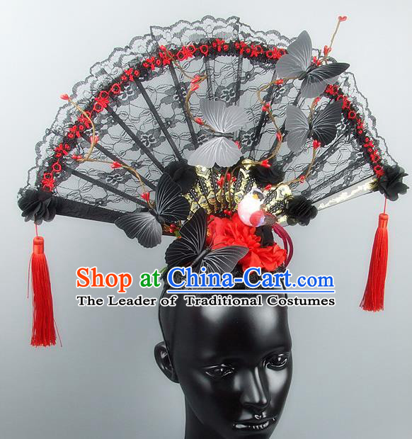 Traditional Handmade Chinese Ancient Hair Accessories, Qin Dynasty Queen Hat Black Lace Headwear Hair Fascinators Tuinga for Women