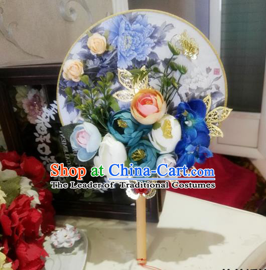 Traditional Handmade Chinese Ancient Wedding Round Fans, Hanfu Palace Lady Bride Blue Rose Flowers Mandarin Fans for Women
