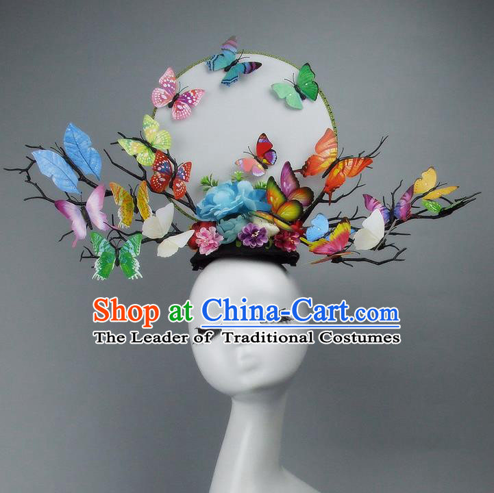 Traditional Handmade Chinese Ancient Hair Accessories, Qin Dynasty Butterfly Hat Headwear Model Show Headdress Tuinga for Women