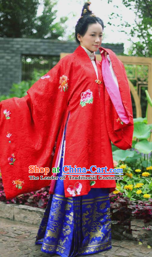 Traditional Chinese Ming Dynasty Empress Wedding Embroidered Costume, Asian China Ancient Hanfu Bride Dress Clothing for Women