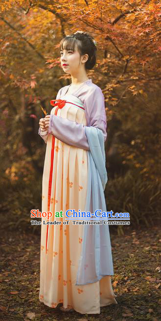 Traditional Chinese Tang Dynasty Palace Lady Embroidered Costume, Asian China Ancient Hanfu Princess Slip Skirt Clothing for Women