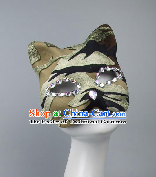 Handmade Exaggerate Fancy Ball Accessories Model Show Crystal Mask, Halloween Ceremonial Occasions Cat Face Mask