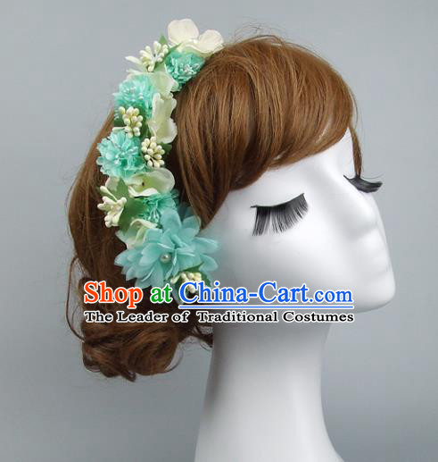 Top Grade Handmade Wedding Hair Accessories Green Flowers Hair Stick, Baroque Style Bride Headwear for Women