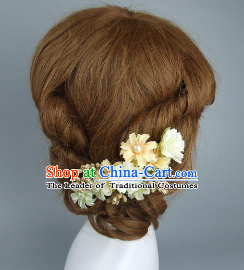 Top Grade Handmade Wedding Hair Accessories Yellow Flowers Hair Clasp, Baroque Style Bride Headwear for Women
