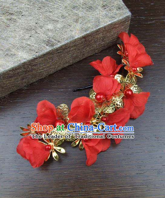 Top Grade Handmade Wedding Hair Accessories Red Headdress Silk Flowers, Baroque Style Bride Headwear for Women