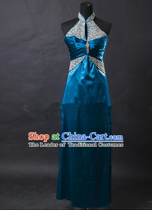 Traditional Chinese Modern Dancing Costume, Women Opening Dance Costume, Modern Dance Blue Dress for Women