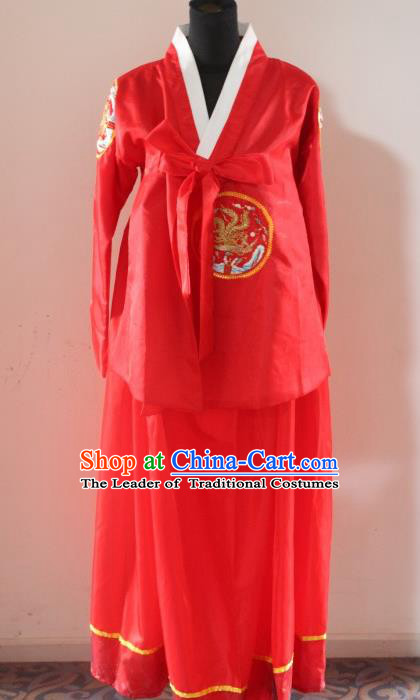Traditional Chinese Korean Costumes, Asian Women Opening Hanbok Red Dress for Women
