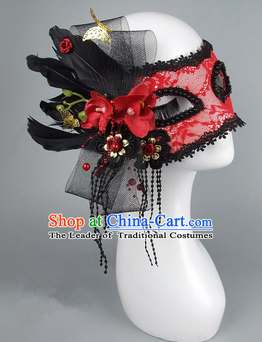 Top Grade Handmade Exaggerate Fancy Ball Accessories Model Show Red Lace Mask, Halloween Ceremonial Occasions Face Mask