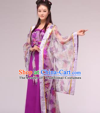 Traditional Ancient Chinese Princess Costume, Asian Chinese Tang Dynasty Imperial Consort Purple Dress Clothing for Women