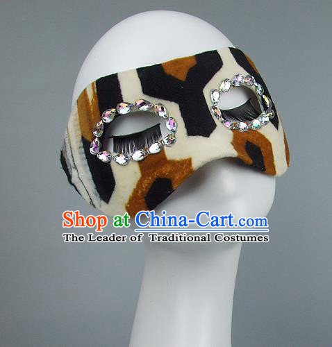 Top Grade Handmade Exaggerate Fancy Ball Model Show Leopard Mask, Halloween Ceremonial Occasions Face Mask