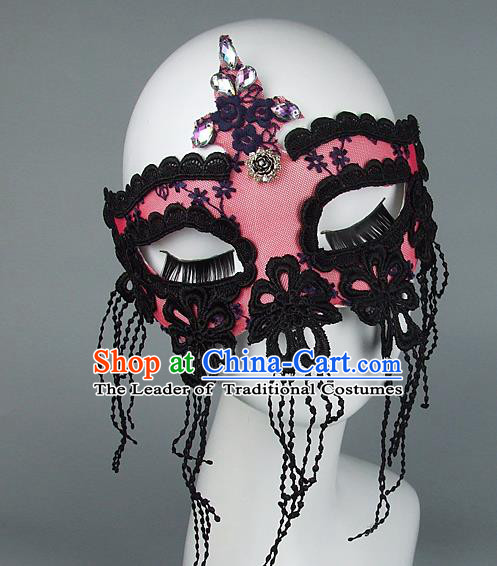 Top Grade Handmade Exaggerate Fancy Ball Model Show Pink Lace Tassel Crystal Mask, Halloween Ceremonial Occasions Face Mask