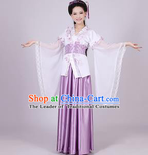 Asian China Ancient Han Dynasty Palace Lady Costume, Traditional Chinese Princess Hanfu Embroidered Purple Dress Clothing for Women