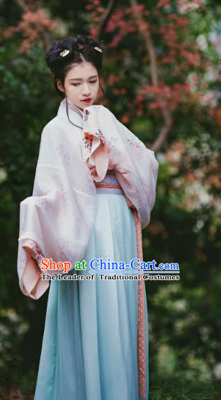 Traditional Chinese Ancient Wei and Jin Dynasties Imperial Concubine Costume, Asian China Princess Clothing for Women