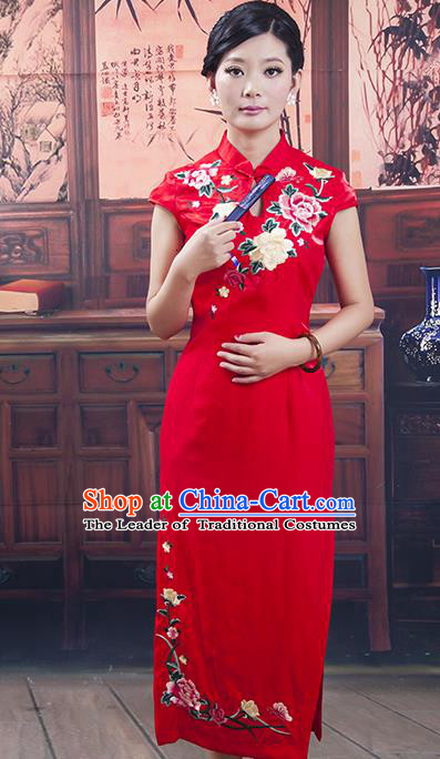 Traditional Chinese National Costume Tang Suit Qipao, China Ancient Cheongsam Embroidered Red Chirpaur Dress for Women