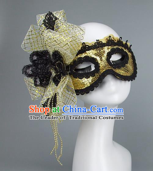 Top Grade Handmade Exaggerate Fancy Ball Accessories Golden Mask, Halloween Model Show Ceremonial Occasions Face Mask