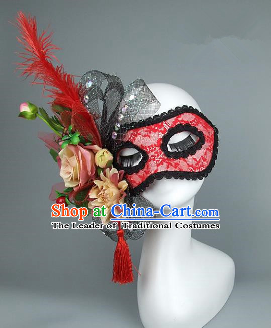 Top Grade Handmade Exaggerate Fancy Ball Accessories Red Lace Mask, Halloween Model Show Ceremonial Occasions Face Mask