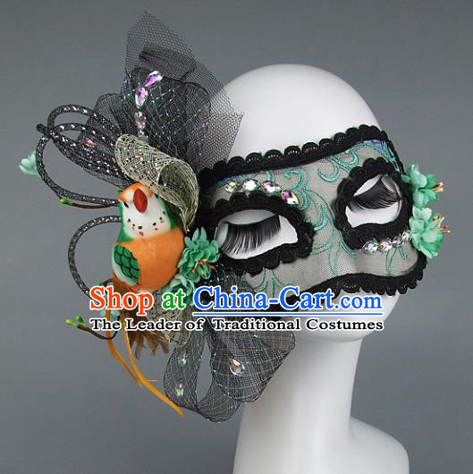 Top Grade Handmade Exaggerate Fancy Ball Accessories Model Show Veil Green Lace Mask, Halloween Ceremonial Occasions Face Mask