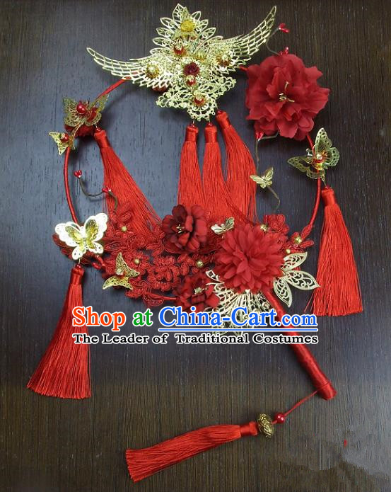 Traditional Handmade Chinese Ancient Wedding Xiuhe Suit Round Fans, Hanfu Palace Lady Bride Mandarin Fans for Women