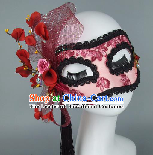 Top Grade Handmade Exaggerate Fancy Ball Accessories Red Veil Lace Mask, Halloween Model Show Ceremonial Occasions Face Mask