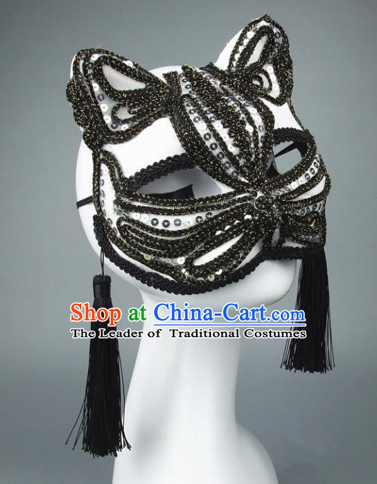 Handmade Halloween Fancy Ball Accessories Cat Black Lace Mask, Ceremonial Occasions Miami Face Mask