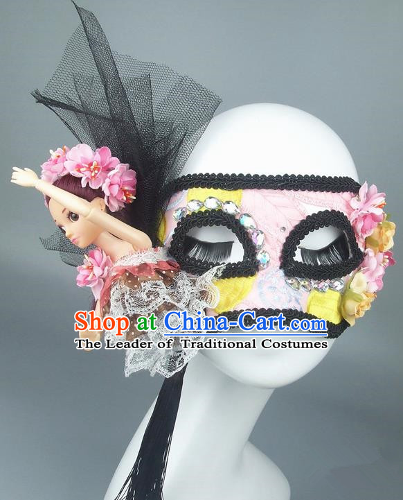 Handmade Halloween Fancy Ball Accessories Pink Mask, Ceremonial Occasions Miami Model Show Lace Face Mask