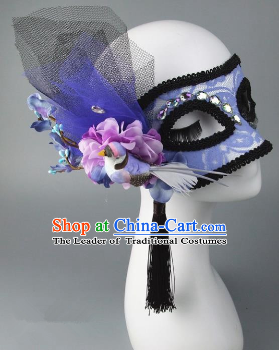 Handmade Halloween Fancy Ball Accessories Cat Blue Lace Mask, Ceremonial Occasions Miami Model Show Face Mask