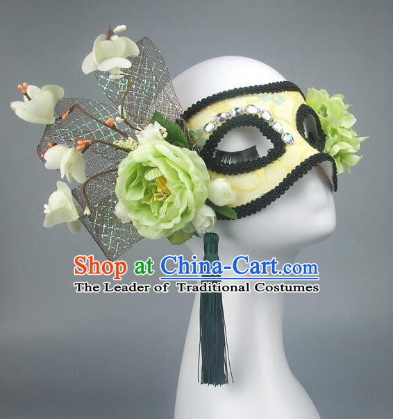 Handmade Halloween Fancy Ball Accessories Green Flowers Mask, Ceremonial Occasions Miami Model Show Crystal Face Mask