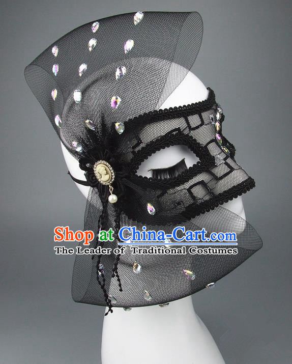 Handmade Halloween Fancy Ball Accessories Black Veil Bowknot Mask, Ceremonial Occasions Miami Model Show Face Mask