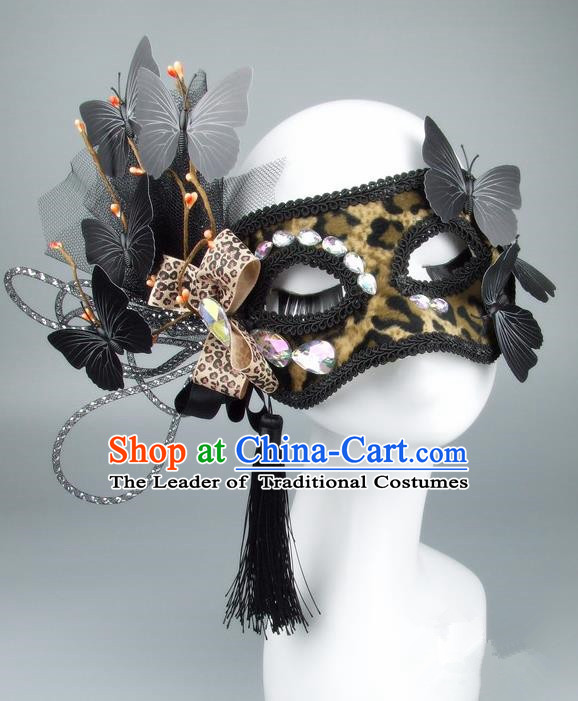 Handmade Halloween Fancy Ball Accessories Veil Butterfly Bowknot Mask, Ceremonial Occasions Miami Model Show Face Mask