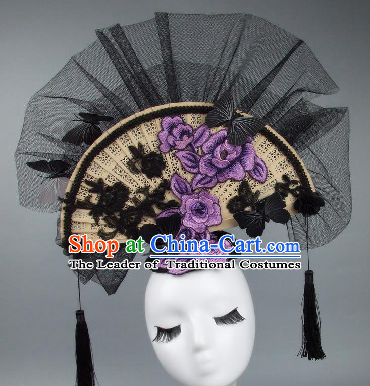 Handmade Asian Chinese Fan Hair Accessories Purple Lace Flowers Butterfly Headwear, Halloween Ceremonial Occasions Miami Model Show Tassel Headdress